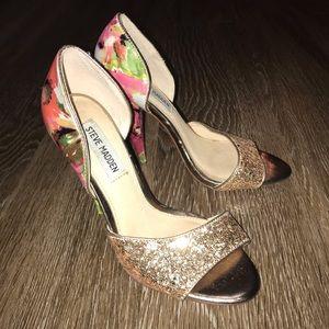 Steve Madden Delacaci Floral Glitter Heels, Size 6